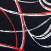Red/White Print in Black Ground